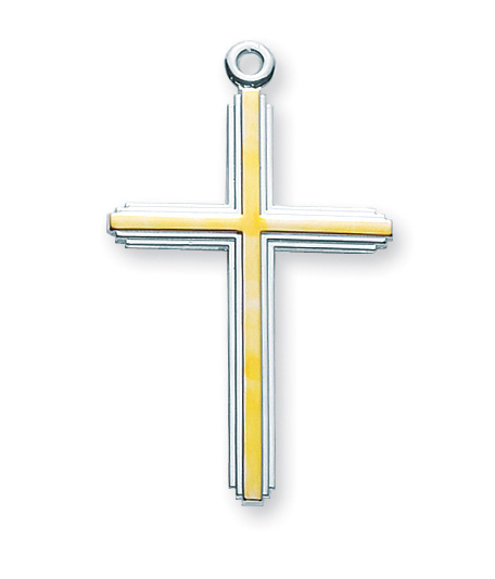 """1 1/2"""" Tutone Sterling Silver Cross with 20"""" Chain"""