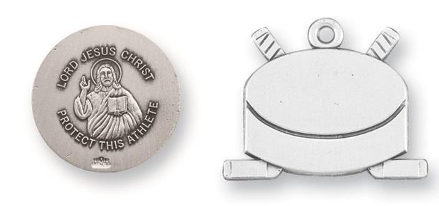 Sterling Silver Christ Hockey Athlete Medal