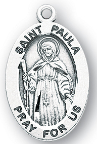 Sterling Silver Oval Shaped St. Paula Medal