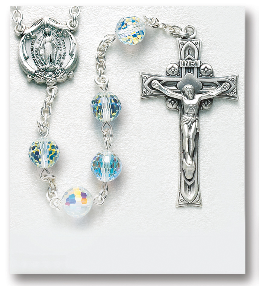 Lucia of Syracuse medal. The Crucifix measures 5//8 x 1//4 The charm features a St Silver Plate Rosary Bracelet features 6mm Crystal Fire Polished beads