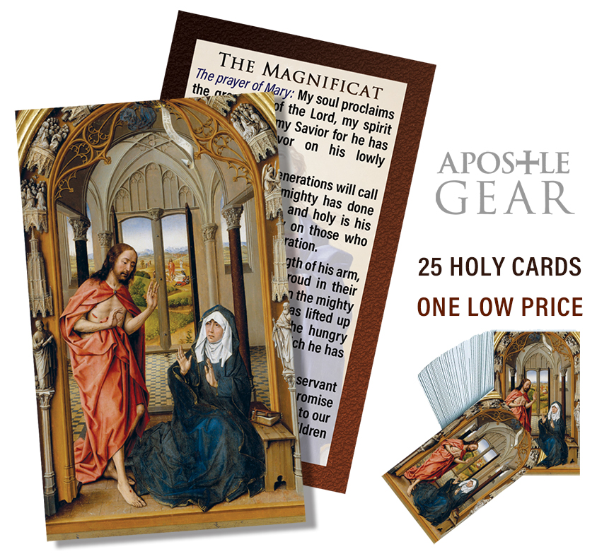 Magnificat Prayer Card with Jesus appearing to His Mother