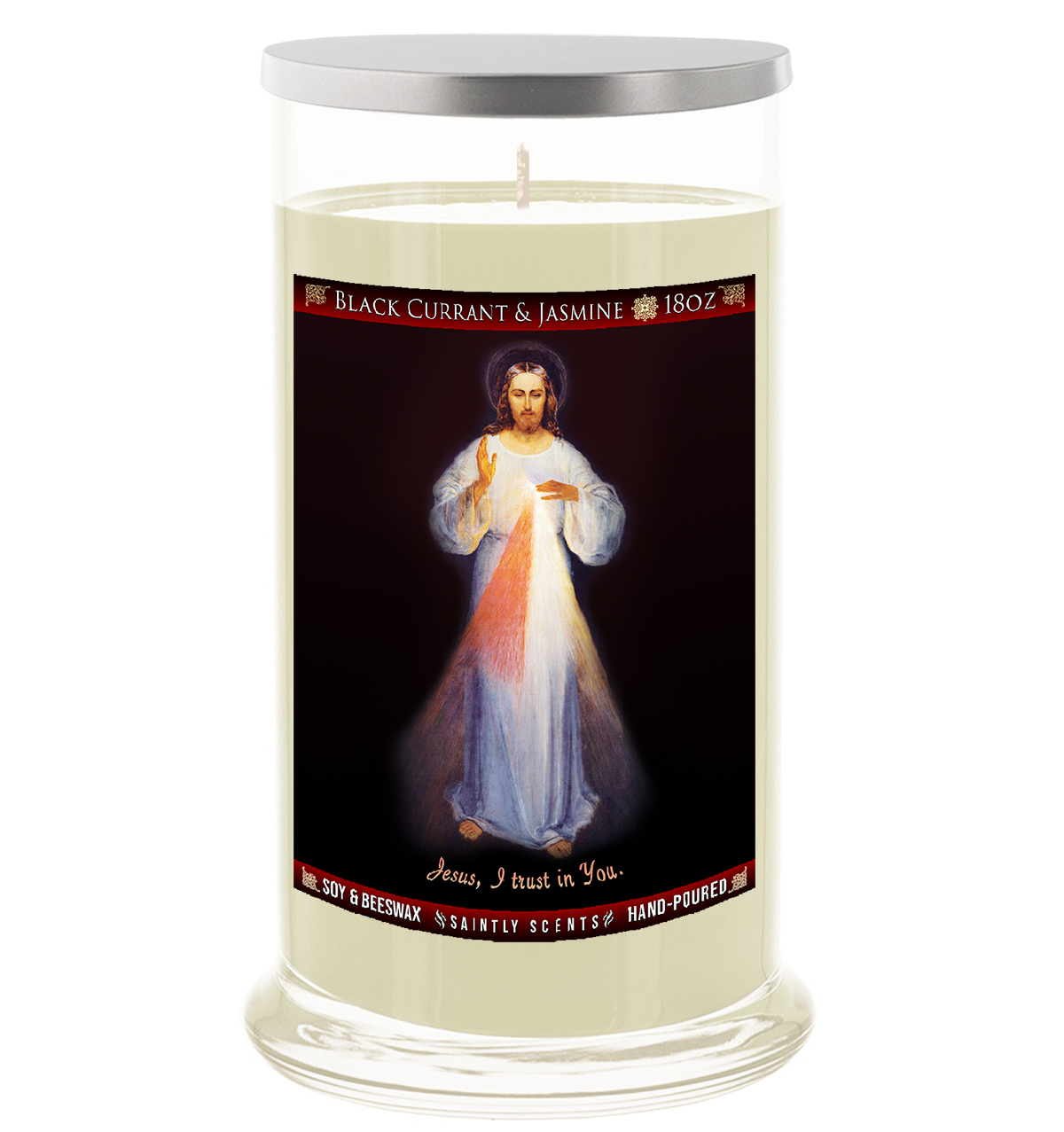 Divine Mercy Painting Scented Prayer Candle - Black Currant and Jasmine
