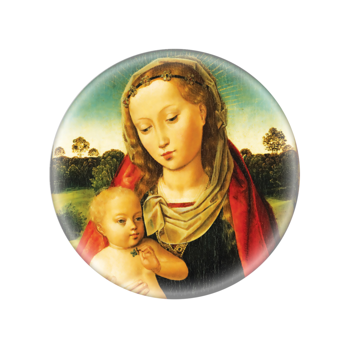 Mary And Jesus Glass Magnet