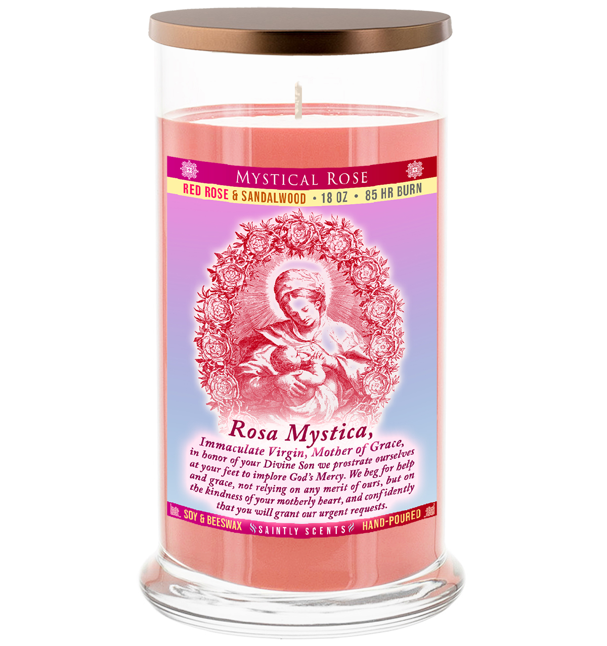 Our Lady of Roses - Rosa Mystica Candle
