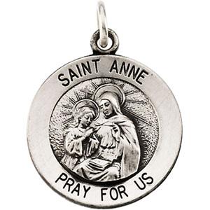 14K White Gold St. Anne Pendant