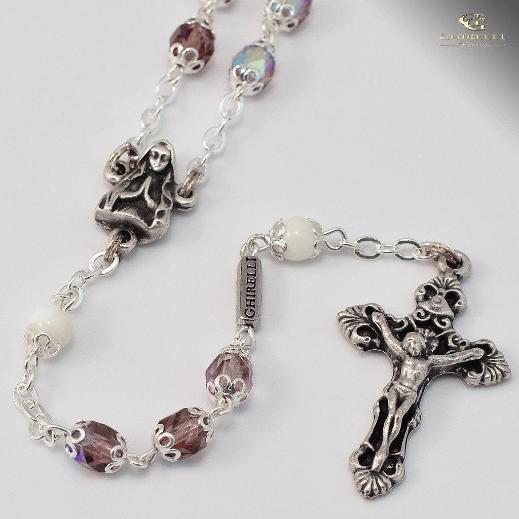 Bonyak Jewelry 18 Inch Rhodium Plated Necklace w// 4mm Green August Birth Month Stone Beads and Saint Michael Heart Charm