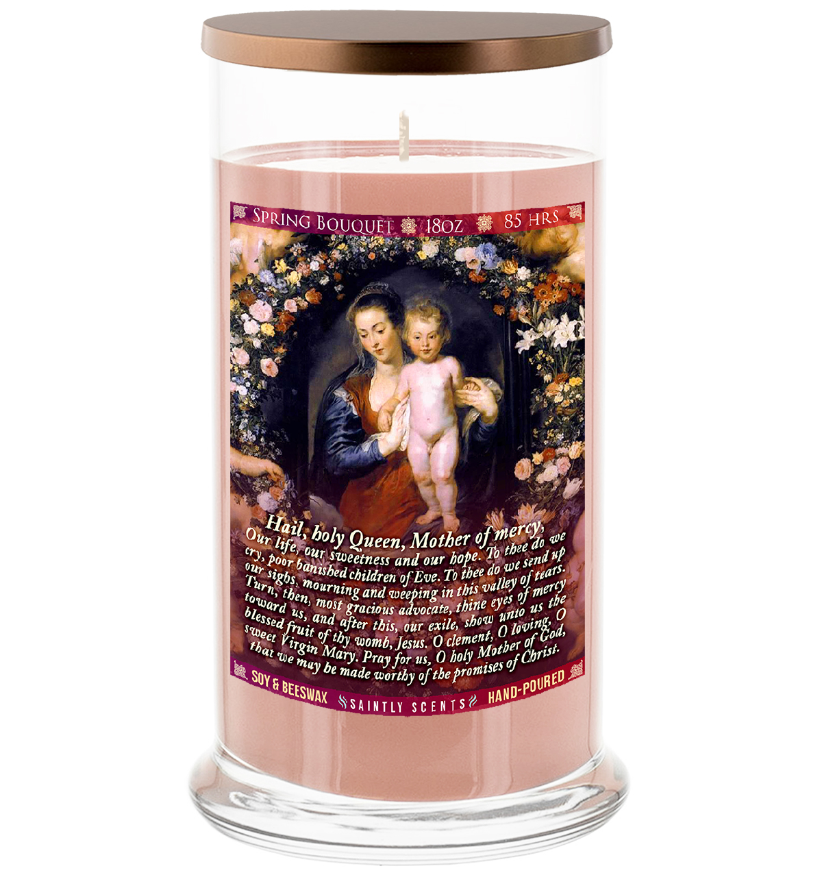Hail Holy Queen Scented Prayer Candle - Spring Bouquet