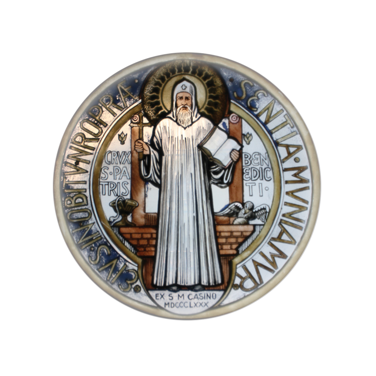 Colorful St Benedict Glass Magnet