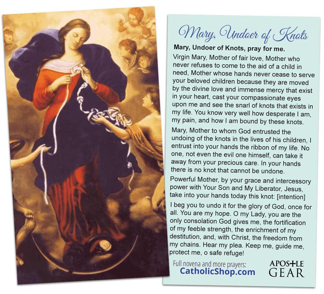 Mary, Untier of Knots Holy Card