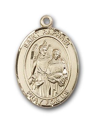 14kt Gold St Raphael the Archangel Medal Patron Saint of Blind//Love//Safe Journey