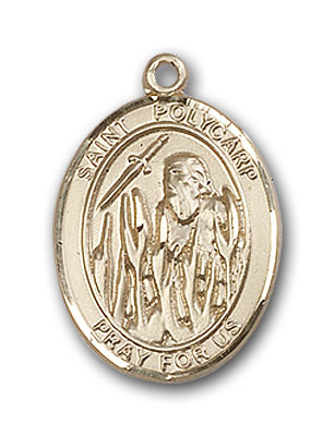 Polycarp Of Smyrna Medal 14kt Gold St Patron Saint of Dysentery//Against Earache