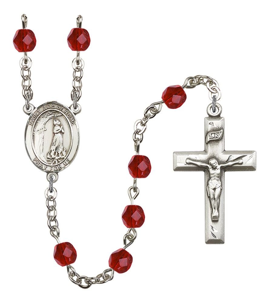 Silver Plate Rosary Bracelet features 6mm Sapphire Fire Polished beads The Crucifix measures 5//8 x 1//4 The charm features a St Medard of Noyon medal.