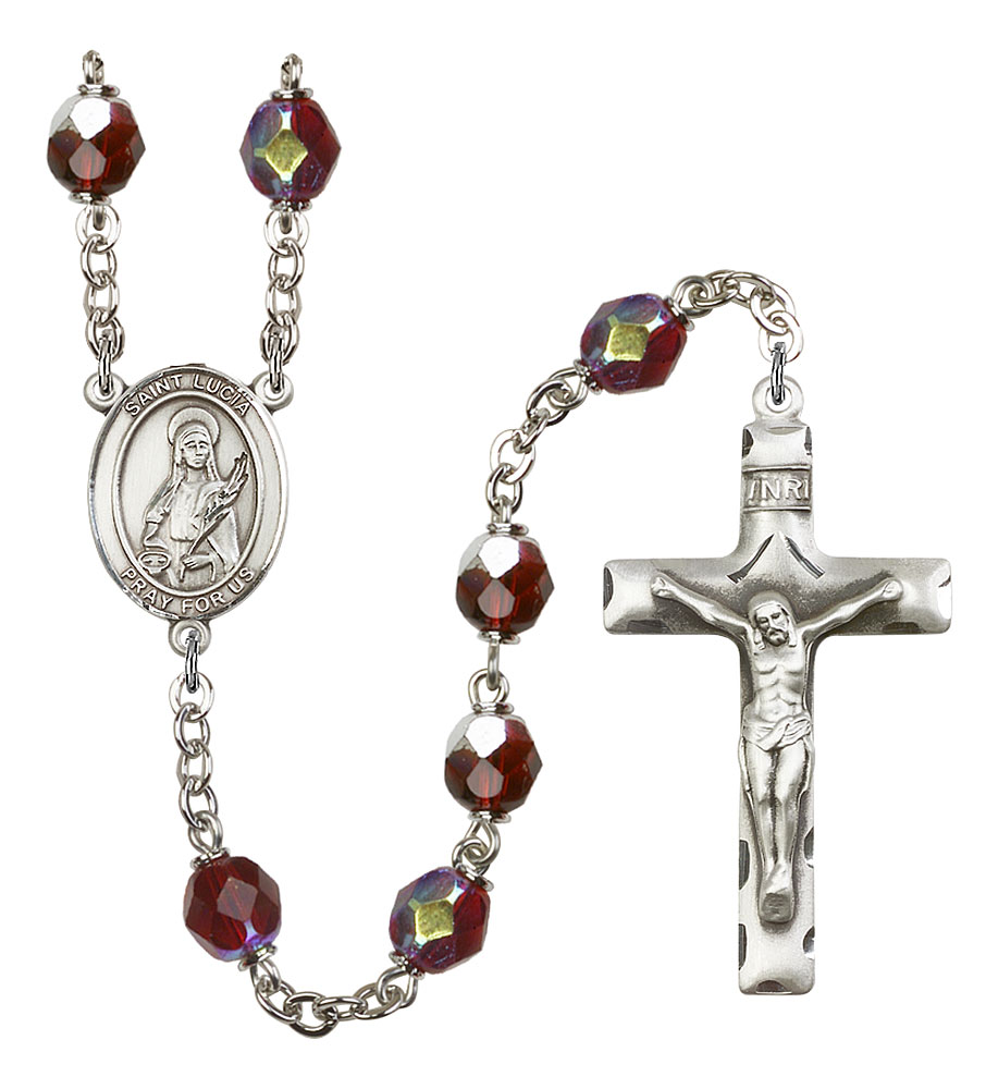 Silver Plate Rosary Bracelet features 6mm Garnet Fire Polished beads The Crucifix measures 5//8 x 1//4 The charm features a St Zoe of Rome medal.