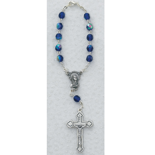 The charm features a St Silver Plate Rosary Bracelet features 6mm Sapphire Fire Polished beads Patron Saint Accountants//Bankers The Crucifix measures 5//8 x 1//4 Matthew the Apostle medal