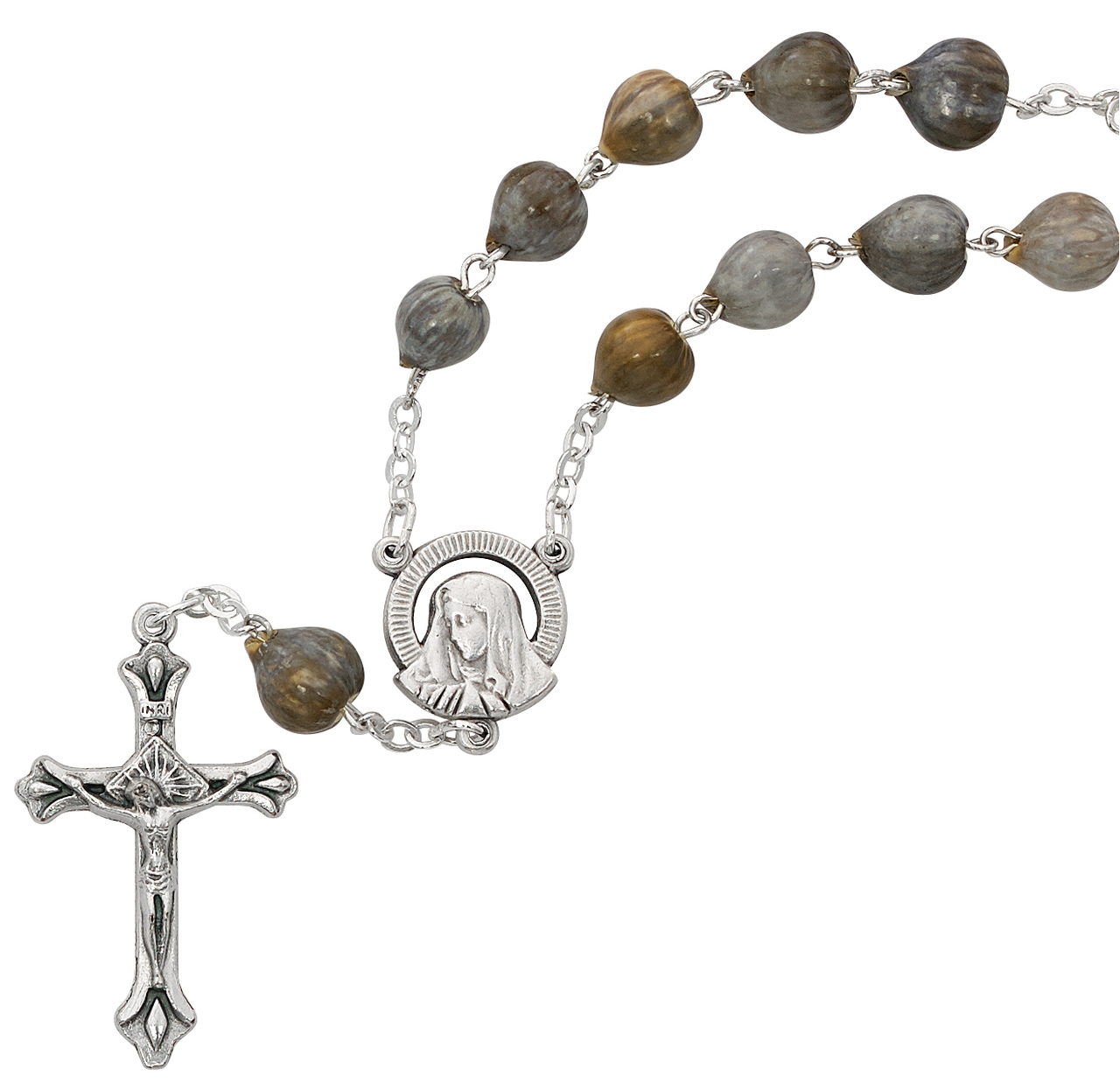 The Crucifix measures 5//8 x 1//4 Patron Saint Loneliness//Lost Causes Silver Plate Rosary Bracelet features 6mm Ruby Fire Polished beads The charm features a St Rita of Cascia medal