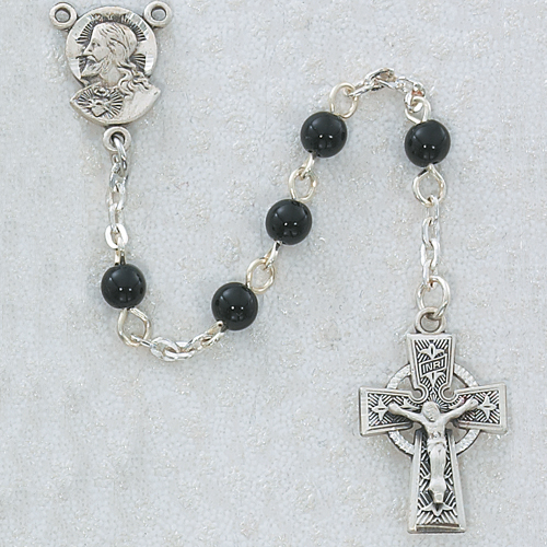 The charm features a St Aidan of Lindesfarne medal Patron Saint The Crucifix measures 5//8 x 1//4 Silver Plate Rosary Bracelet features 6mm Aqua Fire Polished beads