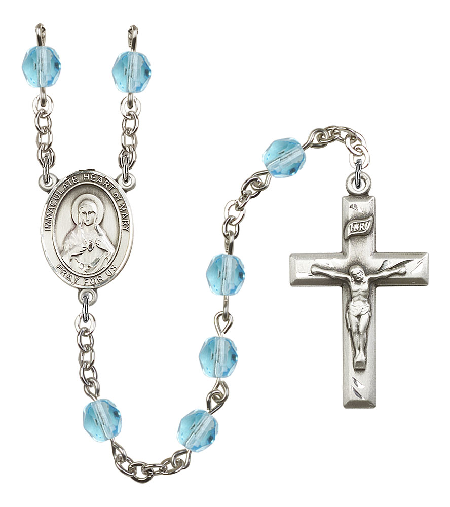 18-Inch Rhodium Plated Necklace with 6mm Aqua Birthstone Beads and Sterling Silver Saint Sarah Charm.