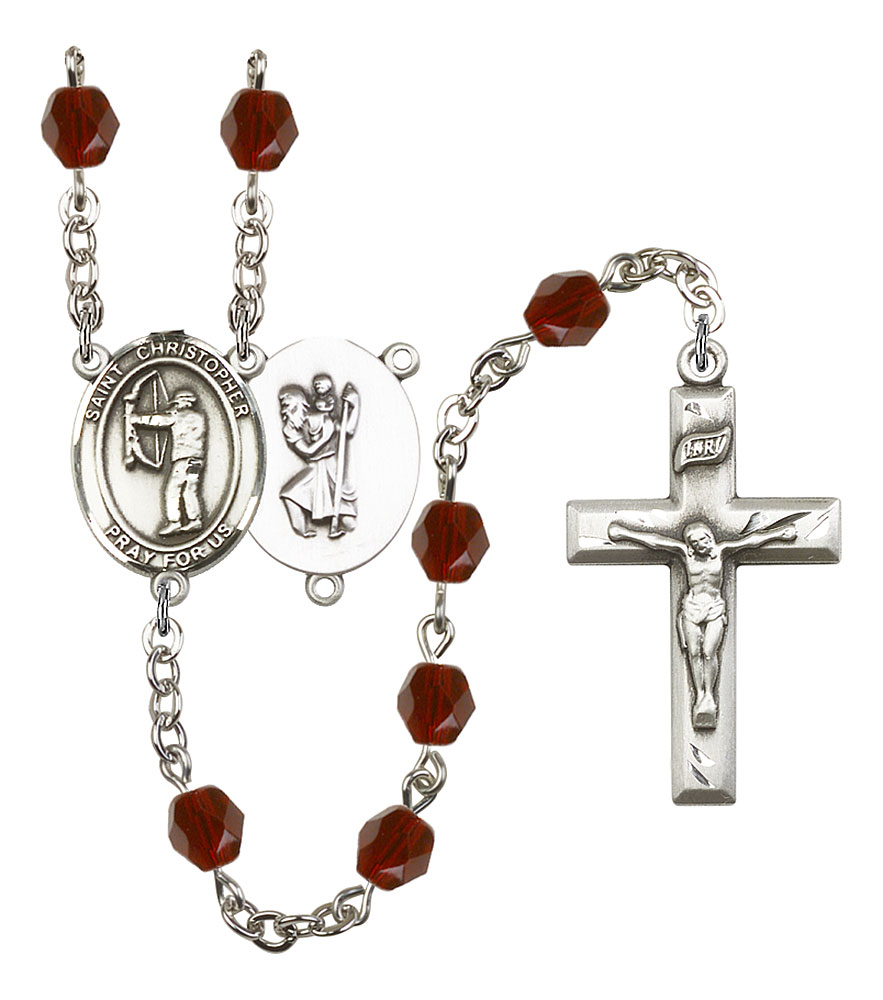 18-Inch Rhodium Plated Necklace with 4mm Topaz Birthstone Beads and Sterling Silver Saint Mary Mackillop Charm.