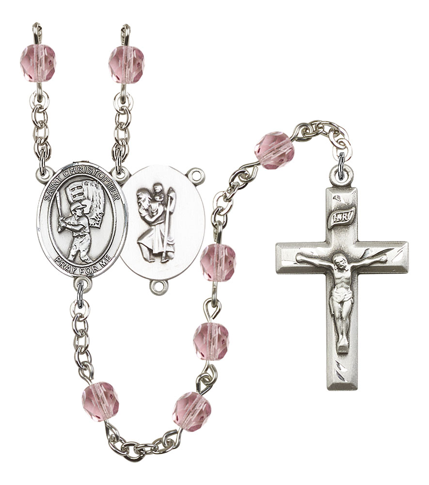 Augustine of Hippo medal The Crucifix measures 5//8 x 1//4 Patron Saint Brewers//Theologians Silver Plate Rosary Bracelet features 6mm Amethyst Fire Polished beads The charm features a St