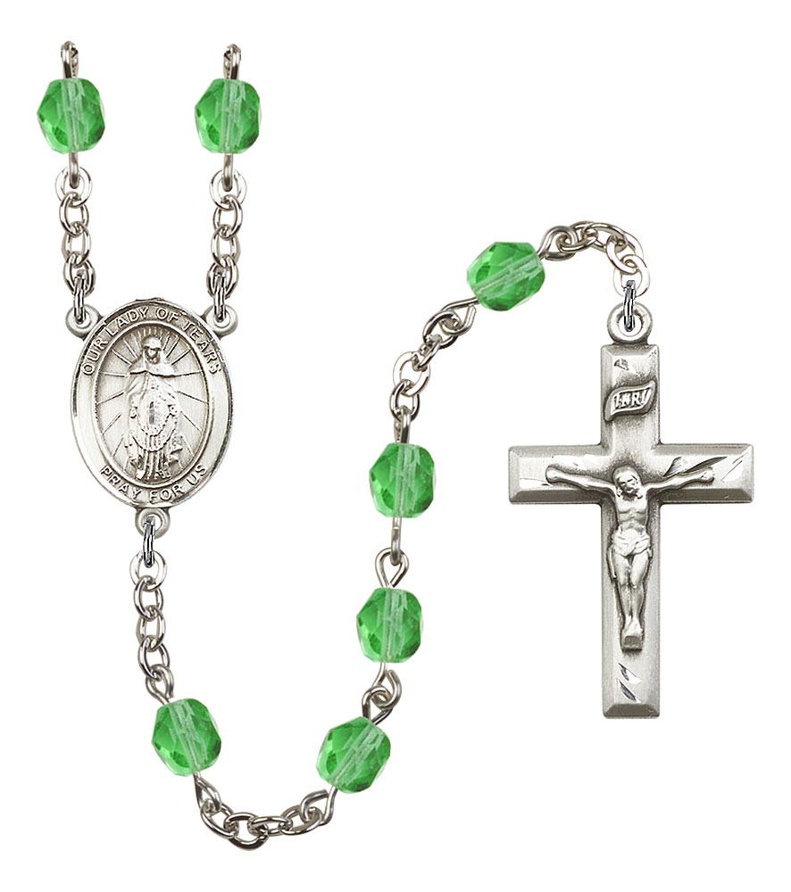 Silver Plate Rosary Bracelet features 6mm Topaz Fire Polished beads Ronan medal The charm features a St The Crucifix measures 5//8 x 1//4 Patron Saint Marown Parish