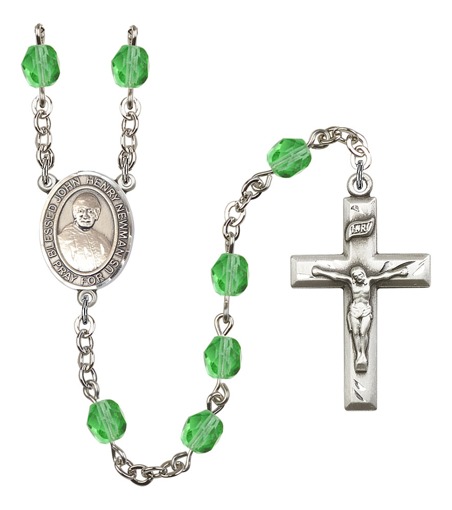 Bruno medal Silver Plate Rosary Bracelet features 6mm Topaz Fire Polished beads The Crucifix measures 5//8 x 1//4 Patron Saint Possessed People The charm features a St