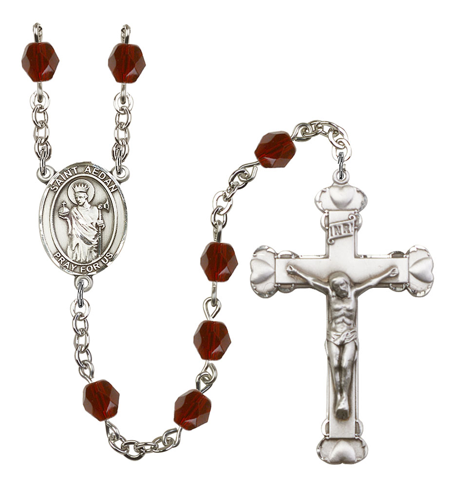 The Crucifix measures 5//8 x 1//4 Anastasia medal Patron Saint Martyrs//Widows Silver Plate Rosary Bracelet features 6mm Ruby Fire Polished beads The charm features a St