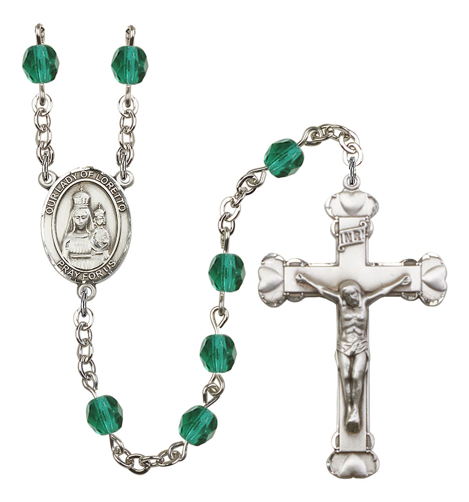 18-Inch Rhodium Plated Necklace with 6mm Zircon Birthstone Beads and Sterling Silver Saint Stanislaus Charm.