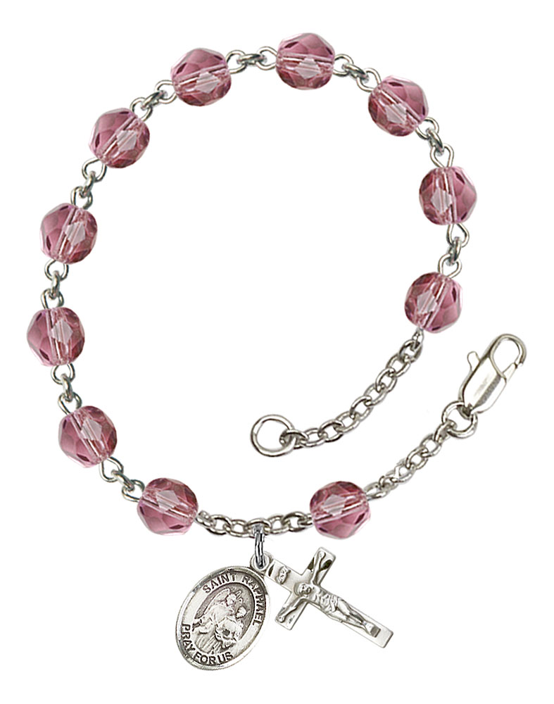 18-Inch Rhodium Plated Necklace with 6mm Garnet Birthstone Beads and Sterling Silver Saint Polycarp of Smyrna Charm.