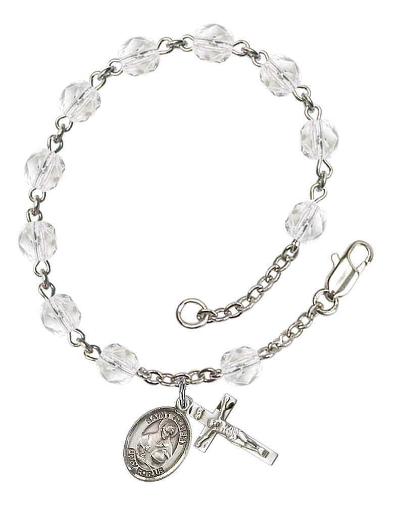 The charm features a O//L of Mercy medal Patron Saint Barcelona Spain Silver Plate Rosary Bracelet features 6mm Topaz Fire Polished beads The Crucifix measures 5//8 x 1//4