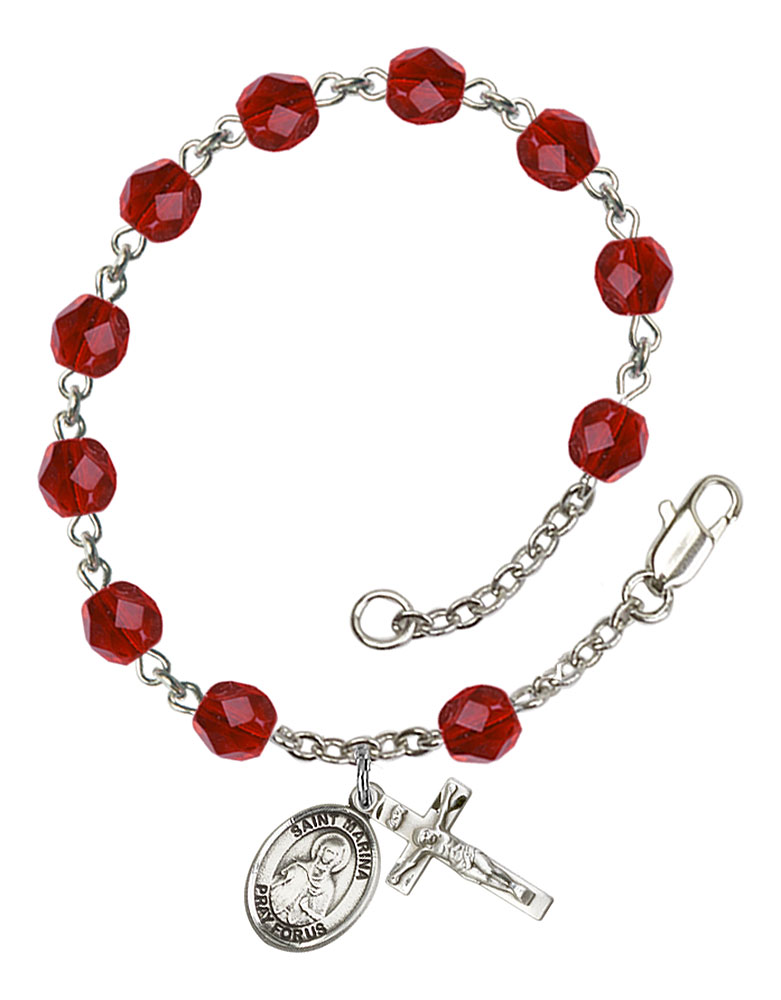 Patron Saint Monastery of Agahanoe The charm features a St Kenneth medal The Crucifix measures 5//8 x 1//4 Silver Plate Rosary Bracelet features 6mm Zircon Fire Polished beads