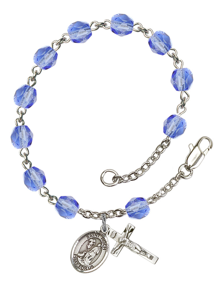 The Crucifix measures 5//8 x 1//4 Silver Plate Rosary Bracelet features 6mm Topaz Fire Polished beads Patron Saint Those Named Benjamin Benjamin medal The charm features a St