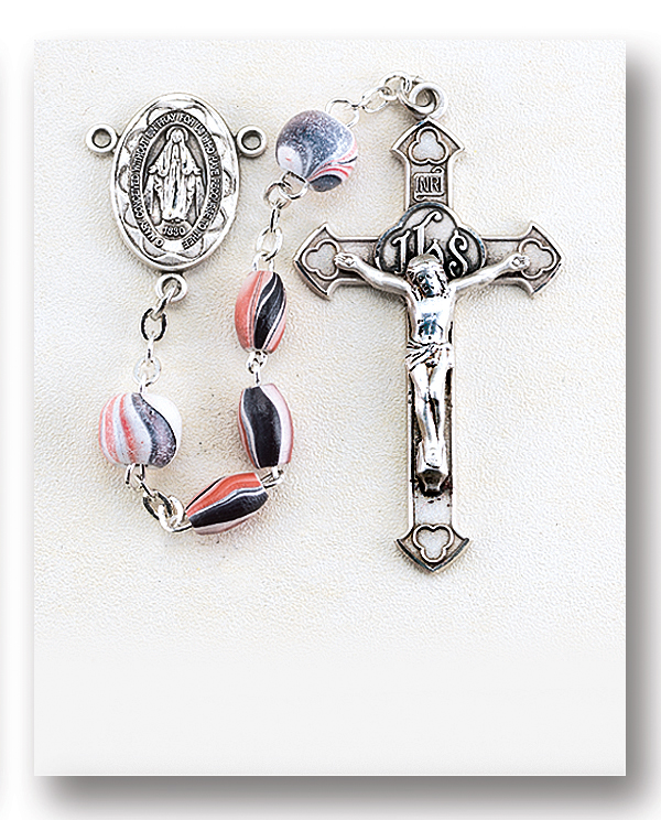 Silver Plate Rosary Bracelet features 6mm Ruby Fire Polished beads Peter the Apostle medal The Crucifix measures 5//8 x 1//4 The charm features a St Patron Saint Butchers//Fisherman
