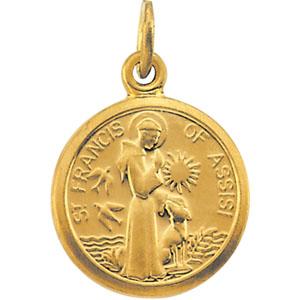 Gold Filled Lite Curb Chain Patron Saint Whitewashers//Rheumatism 3//4 x 1//2 Kilian Pendant 14kt Gold Filled St